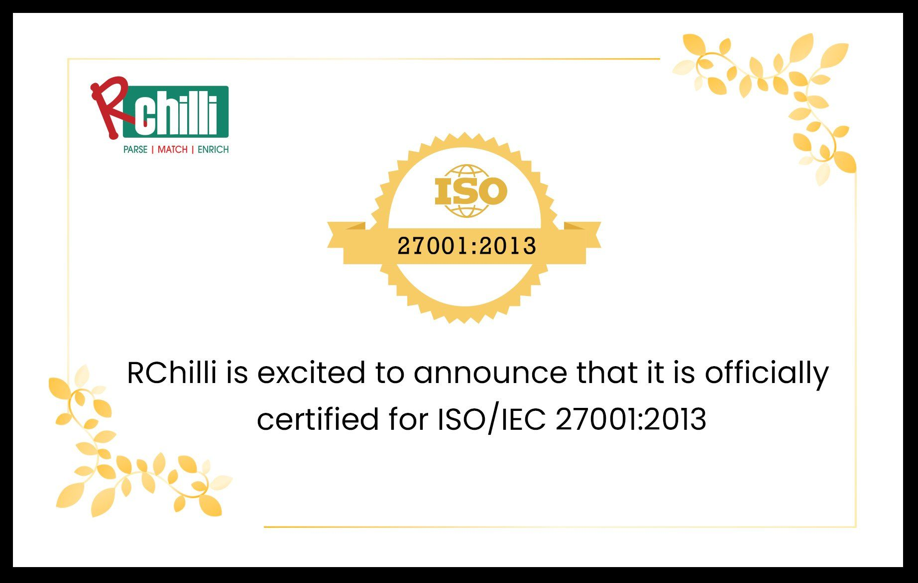 RChilli is Now ISO 27001:2013 Certified